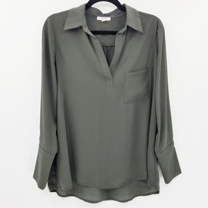 Pleonie Pleated Back Chiffon Hi-Lo Blouse Olive